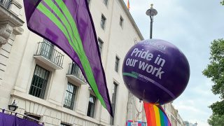 Large UNISON LGBT+ balloon at London Pride