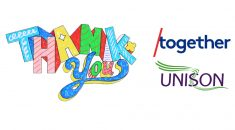 Words Thank you, coloured in, plus the logos of /Together and UNISON