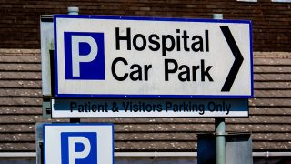 Signs for a hospital car park