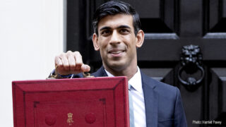 Chancellor Rishi Sunak with the red Budget box