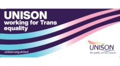 Banner - UNISON working for trans equality