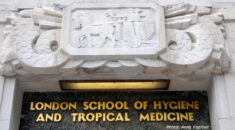 Sign above the main entrance of the London School of Hygiene and Tropical Medicine