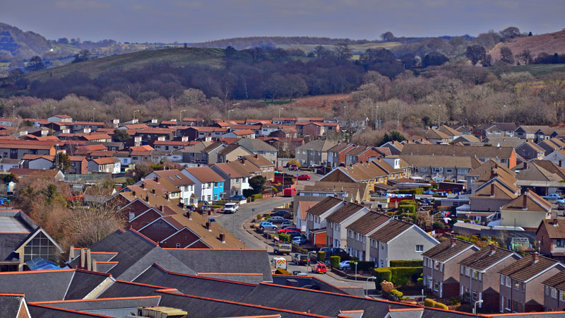 Caerphilly streets and rooftops